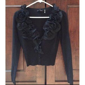 Ryu Black Textured Rose Flower V-neck Cardigan